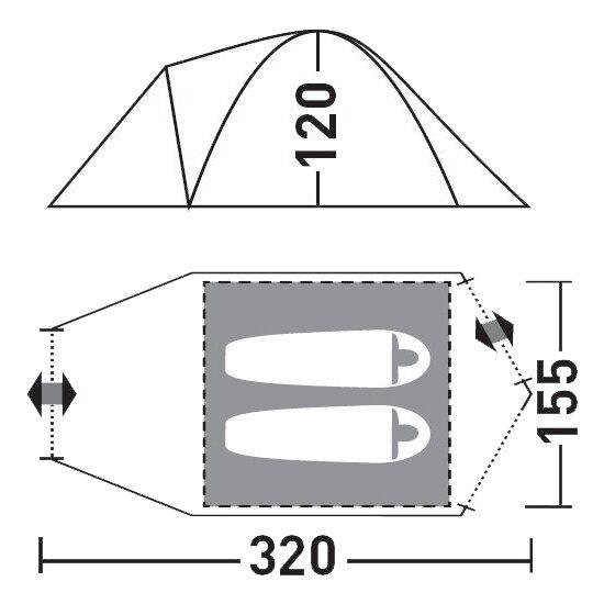 Палатка Greenell Лимерик 2, зеленая (25413-303-00)