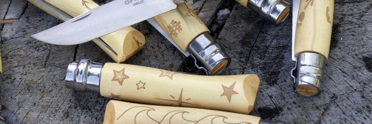 Нож Opinel №7 Nature, нержавеющая сталь, рукоять самшит, гравировка звезды