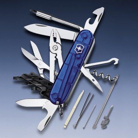 Нож Victorinox CyberTool 34 1.7725.T2, полупрозрачный синий