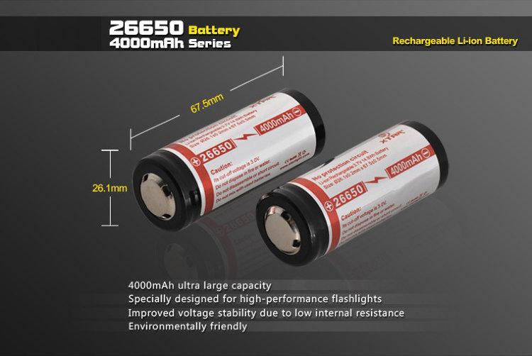 Аккумулятор 26650 4000 mAh Li-ion X-tar