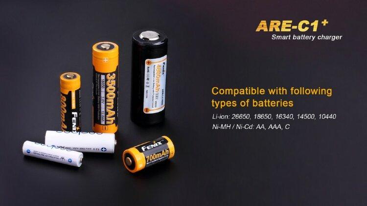 Зарядное устройство Fenix ARE-C1+ (26650, 18650, 16340, 14500, 10440, AA, AAA, C)