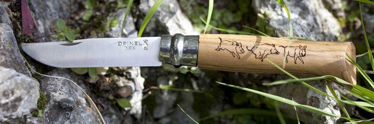 Нож Opinel №8 Animalia, нержавеющая сталь, рукоять дуб, гравировка кабан