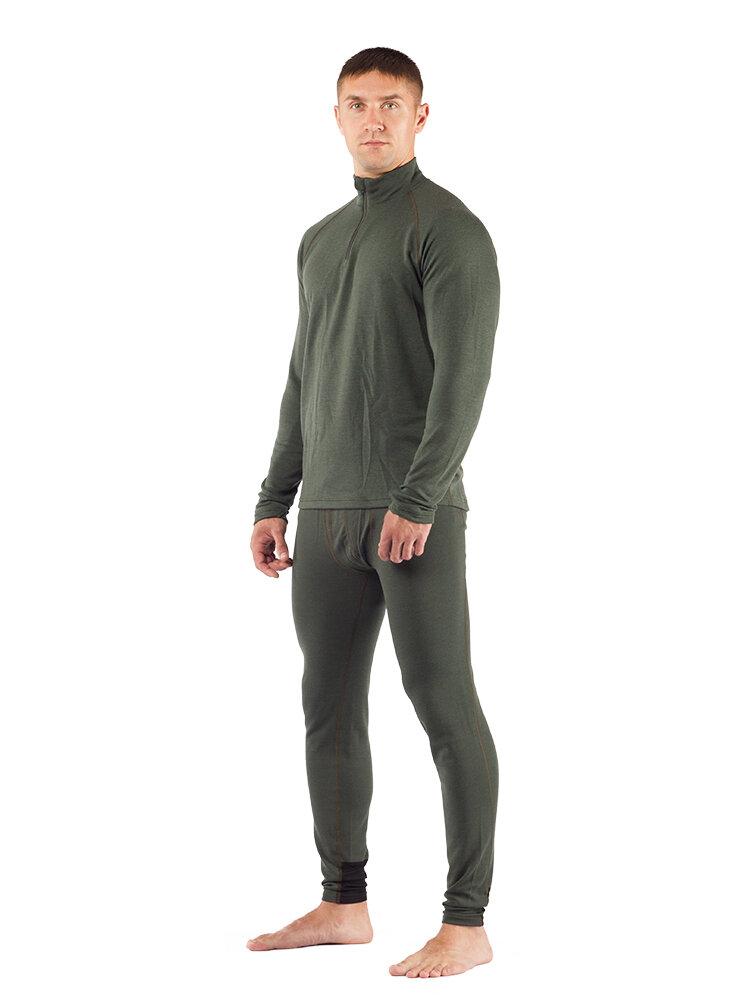 Комплект мужского термобелья Lasting, зеленый - футболка WIRY и штаны WICY