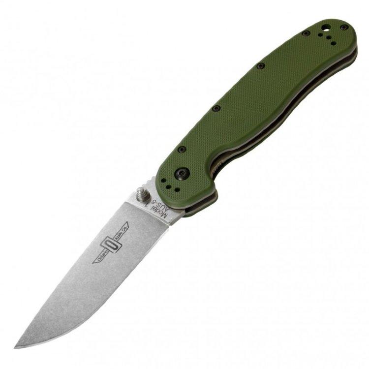 Нож Ontario Rat 2 Stonewash. Зеленый, бежевый