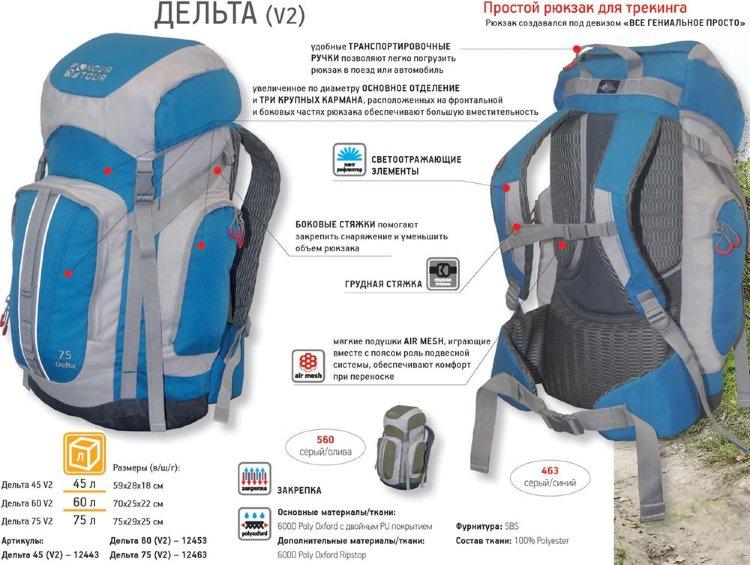 Рюкзак Nova Tour Дельта 45 V2 серый/синий (12443-458-00)