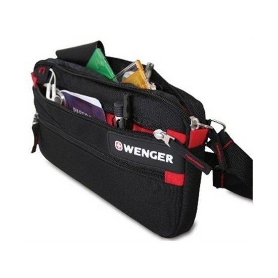 Сумка поясная Wenger Waist Bag,  дорожная, для документов, черный/красный(18292132)