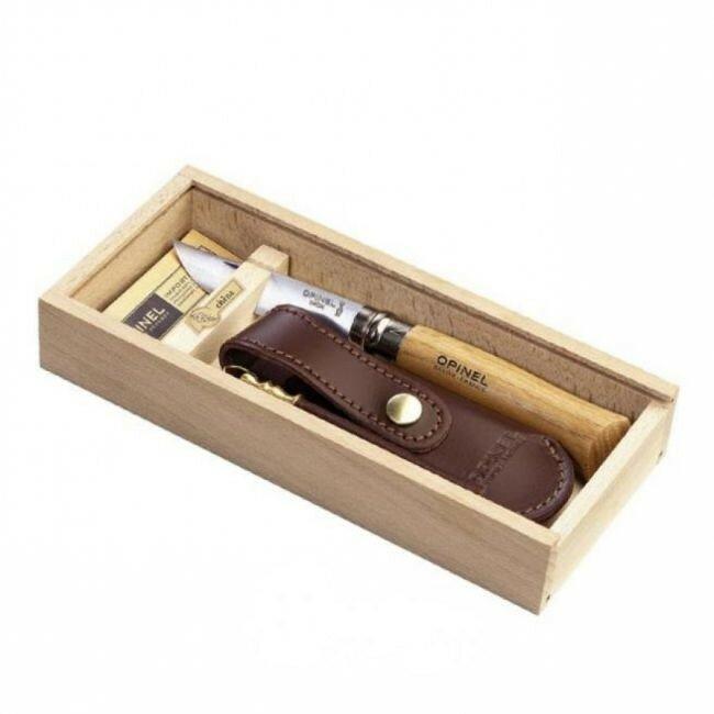 Нож Opinel №8, нержавеющая сталь, рукоять оливковое дерево, деревянный футляр, чехол
