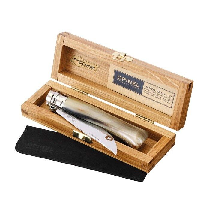 Нож Opinel №8, нержавеющая сталь, рукоять светлый рог оленя, деревянный футляр