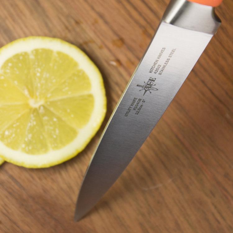 Нож кухонный ACE K104OR Utility knife, пластиковая ручка, цвет оранжевый повреждена упаковка