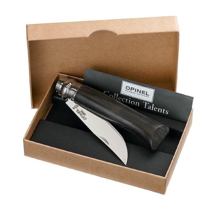 Нож Opinel №8, нержавеющая сталь, рукоять эбеновое дерево, деревянный футляр
