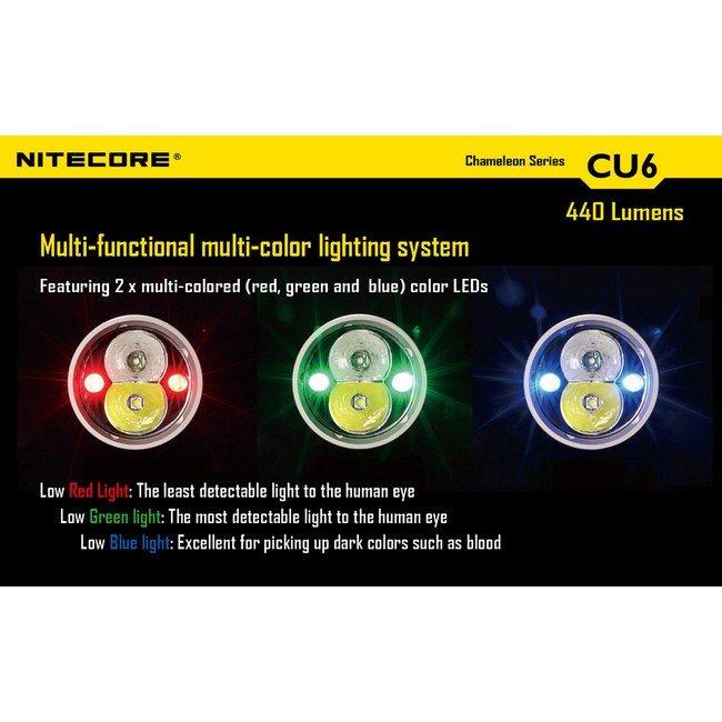 Фонарь Nitecore CU6 (белый + ультрафиолет + RGB)