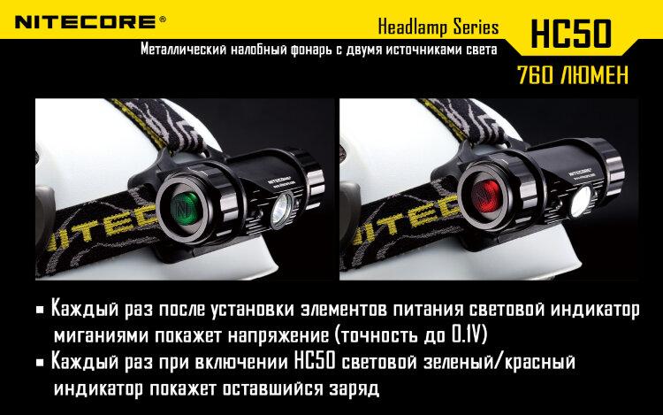 Фонарь налобный Nitecore HC50