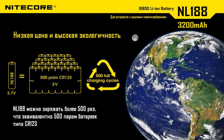 Аккумулятор Nitecore NL188 18650 Li-ion 3.7v 3200mAh