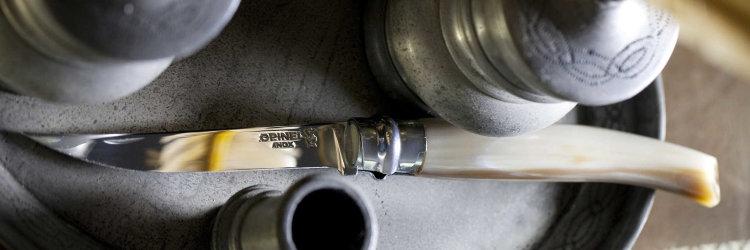 Нож филейный Opinel №10, нержавеющая сталь, рукоять светлый рог буйвола, деревянный футляр