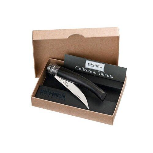 Нож филейный Opinel №10, нержавеющая сталь, рукоять эбеновое дерево, деревянный футляр