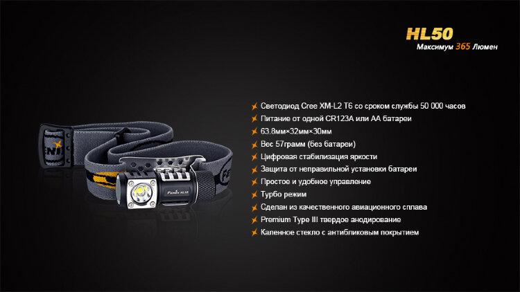 Fenix HL50 XM-L2 T6 вскрытый