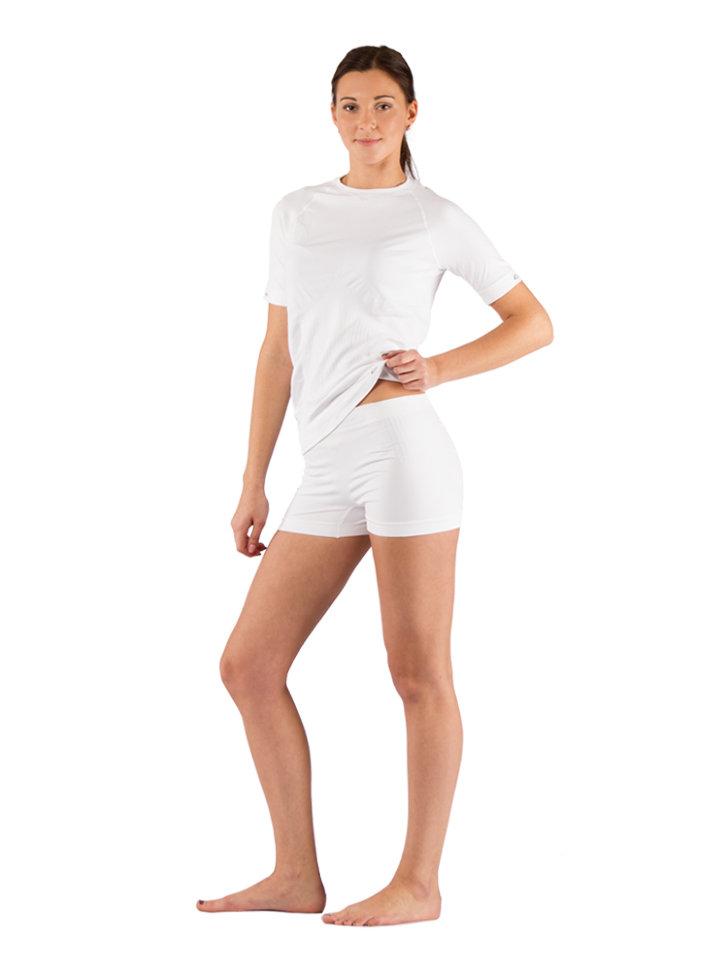 Комплект женского термобелья Lasting, белый - футболка Alba и шорты Avion