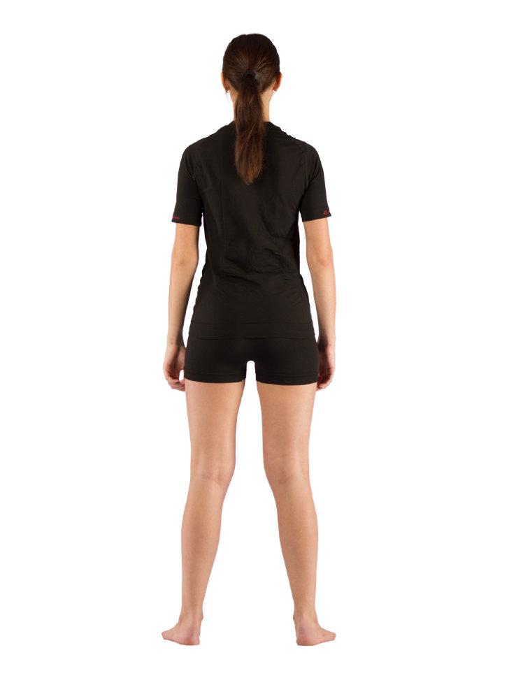 Комплект женского термобелья Lasting, черный - футболка Alba и шорты Avion