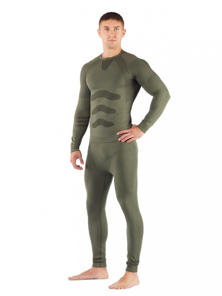 Комплект мужского термобелья Lasting, зеленый - футболка Apol и штаны Ateo