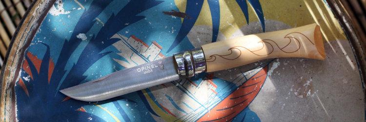Нож Opinel №7 Nature, нержавеющая сталь, рукоять самшит, гравировка волны