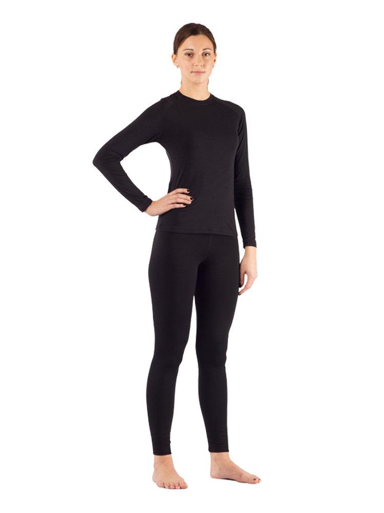 Комплект женского термобелья Lasting, черный - футболка Atila и штаны Ataka