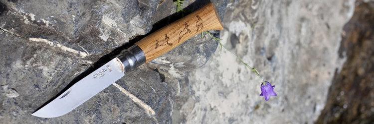 Нож Opinel №8 Animalia, нержавеющая сталь, рукоять дуб, гравировка серна