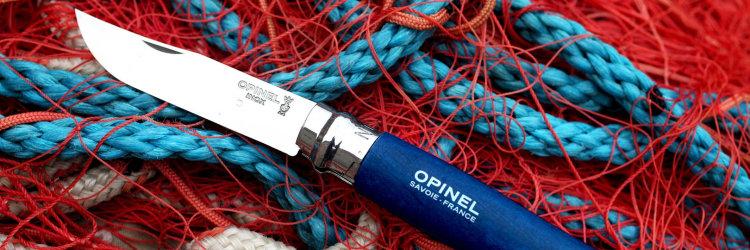 Нож Opinel №8 Trekking, нержавеющая сталь, кожаный темляк, синий