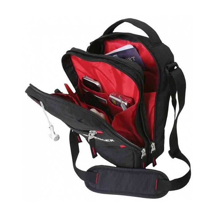 Сумка  Wenger Mini Vertical Boarding Bag, дорожная, для документов, черный/красный (18262166)