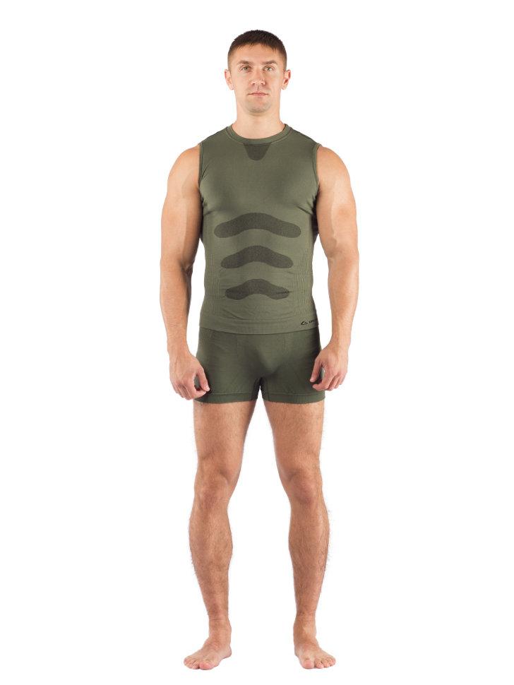 Комплект мужского термобелья Lasting, зеленый - футболка Achile и шорты Adam