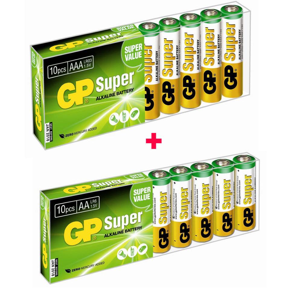 Набор элементов питания 10 АА GP Super + 10 AАА GP Super, Супер Цена!